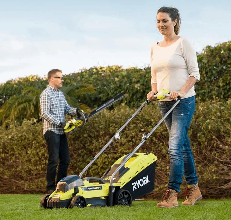 Ryobi 13 inch Battery Powered Lawn Mower Levers