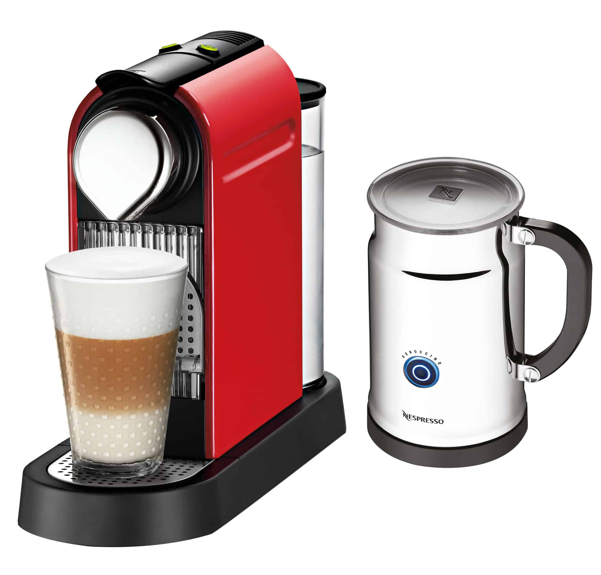 Nespresso capsule coffee machine with stand-alone milk frother